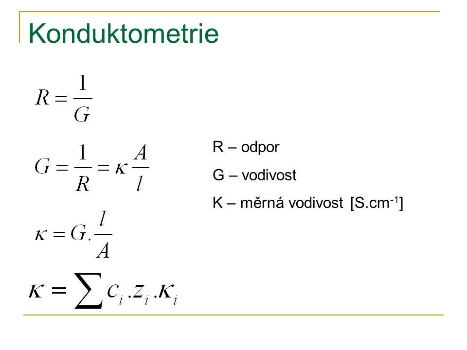 Konduktometrie R – odpor G – vodivost Κ – měrná vodivost [S.cm-1]
